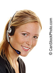 woman with telephone headset in customer service. order...