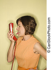 Woman with telephone.