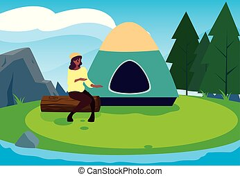 woman with tent camping hiking