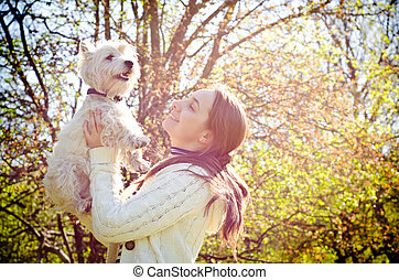 woman with terrier