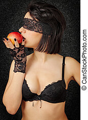 woman with the apple