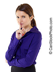 woman with the finger near her lips