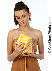 woman with the gift box