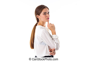 Woman with the pony-tail - Young attractive woman in white ...