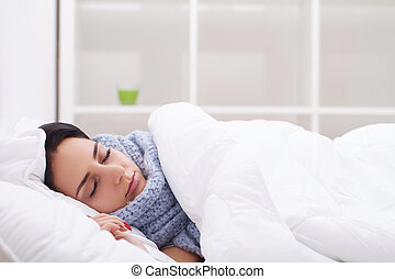 Woman with thermometer sick colds, flu, fever, headache in...