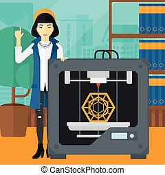 Woman with three D printer.