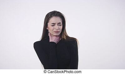 Woman with throat problem ill isolated 4K.