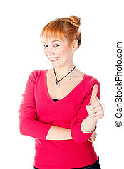 woman with thumb up
