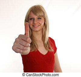 Woman with Thumbs up to camera