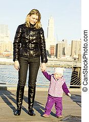 woman with toddler at Manhattan, New York City, USA