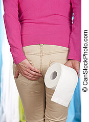 woman with toilet roll