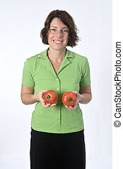 woman with tomato on white background