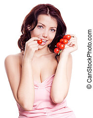 woman with tomatoes