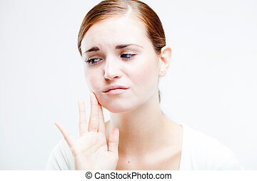 Woman with toothache, Feeling pain tooth