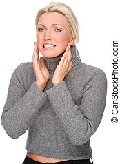 Woman with toothache - Full isolated portrait of a caucasian...