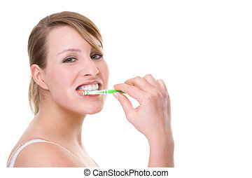 Woman with toothbrush - Full isolated portrait of a...