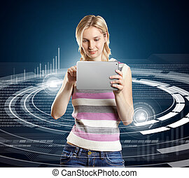 Woman With Touch Pad