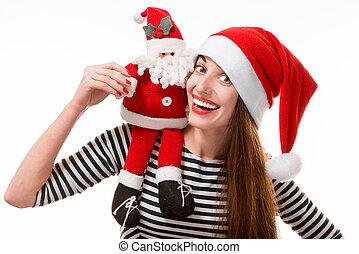 Woman with toy Santa Claus on white background