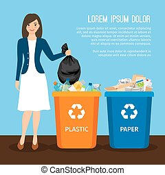 Woman with trash. Keep clean and garbage sorting concept