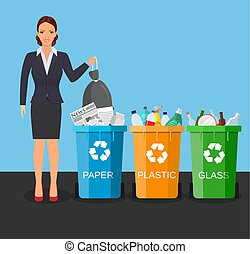 Woman with trash vector illustration.