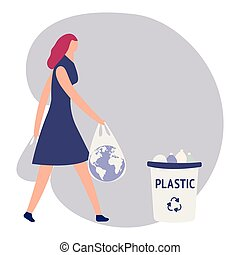 Woman with trash vector illustration. Keep clean and garbage sorting concept