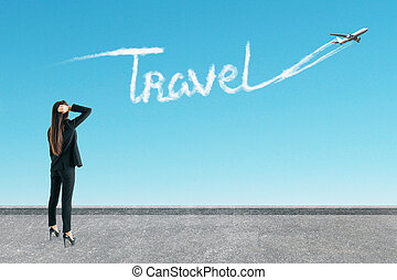 Woman with travel airplane