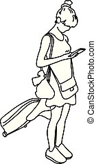 woman with travel bag using mobile phone vector illustration sketch hand drawn with black lines isolated on white background