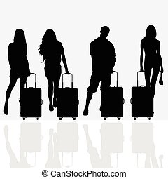woman with travel baggage illustration