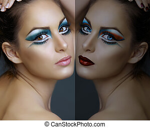 Woman with turquoise make-up. - Beautiful brunette woman...