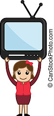 Woman with TV - Vector Illustration