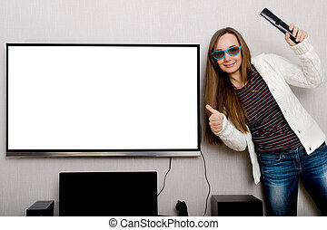 woman with tv - woman in 3d glasses with tv indoors