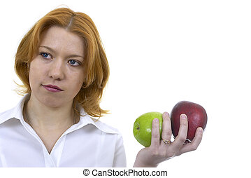 woman with two apples