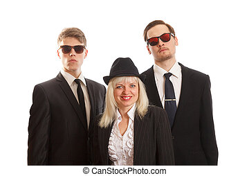 Woman with two young adults