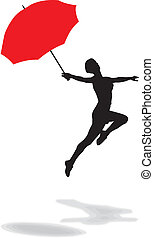 Woman with umbrella - vector illustration of a woman jumping...