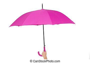 woman with umbrella isolated on white background