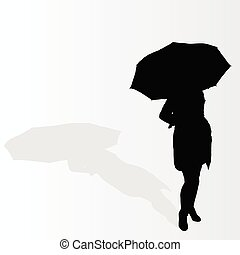 woman with umbrella vector illustration