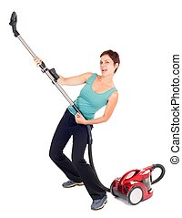 woman playing guitar with vacuum cleaner isolated on white