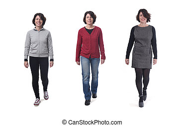 woman with various types of clothes on white background