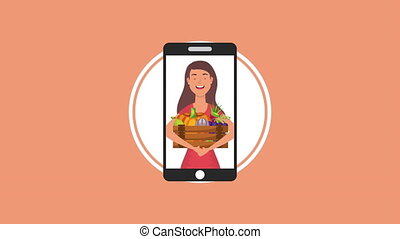 woman with vegan food in smartphone healthy life style