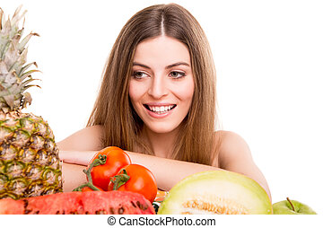 Woman with vegetables and fruits