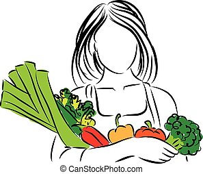 woman with vegetables nutrition ill