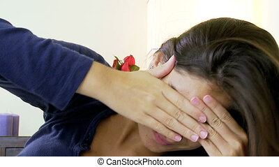 Woman with very strong headache