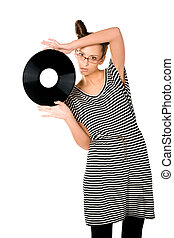 woman with vinyl plate