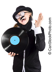 Woman with vinyl record over white background
