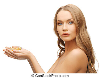 woman with vitamins - bright picture of beautiful woman with...
