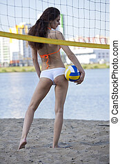 Woman with volleyball