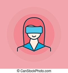 Woman with VR glasses icon
