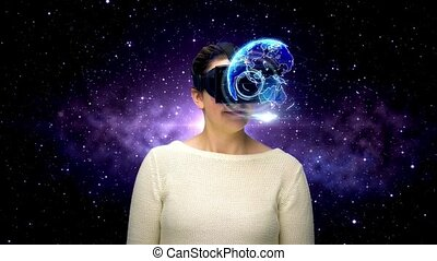 woman with vr headset in virtual space - 3d technology,...