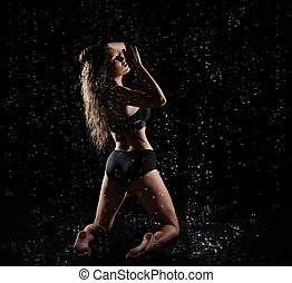 Woman with water drops (color ver) - Young woman with water...