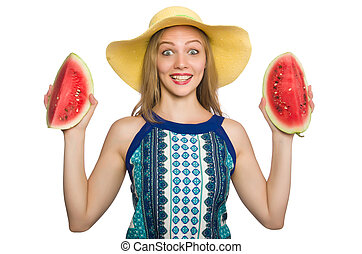 Woman with watermelon isolated on white